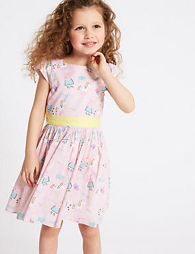 Peppa Pig™ Pure Cotton Dress (1-7 Years), PINK MIX, catlanding
