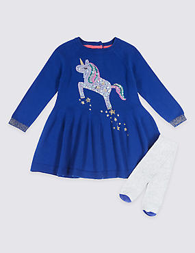 Unicorn Sequin Dress with Tights Outfit (3 Months - 6 Years)