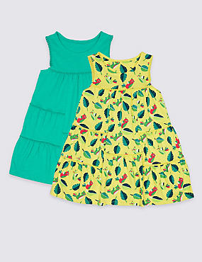 2 Pack Pure Cotton Jersey Dresses (3 Months - 7 Years), YELLOW MIX, catlanding