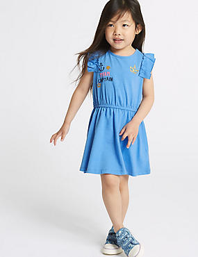 Cotton Rich Jersey Dress (3 Months - 7 Years), DENIM, catlanding