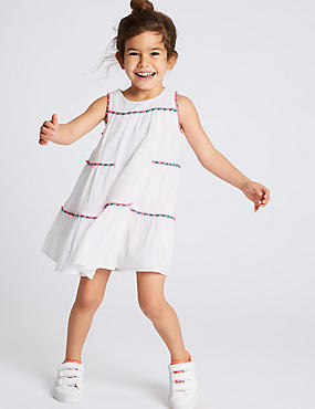 Pure Cotton Dress (3 Months - 7 Years), IVORY MIX, catlanding