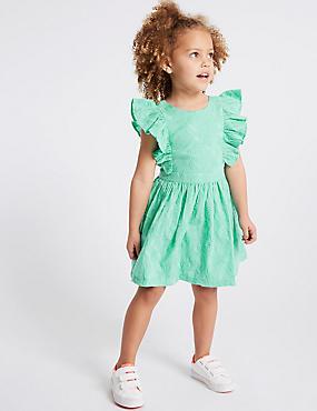 Pure Cotton Dress (3 Months - 7 Years), GREEN, catlanding