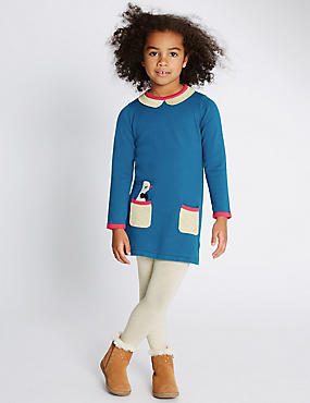 Pure Cotton Duck Knitted Dress with Tights (1-7 Years)