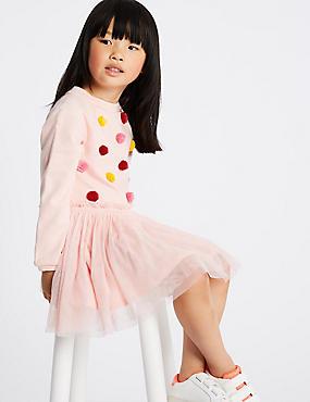 Pom-pom Skirt Dress (3 Months - 7 Years), PINK, catlanding