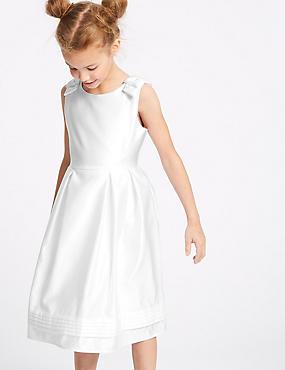 Satin Bow Dress (1-16 Years), WHITE, catlanding