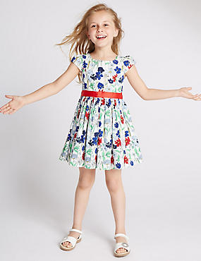 Pure Cotton Floral Prom Belted Dress (1-10 Years)