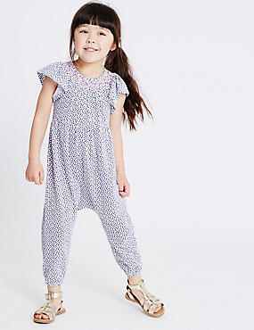 Pure Cotton Spotted Jumpsuit (3 Months - 5 Years)