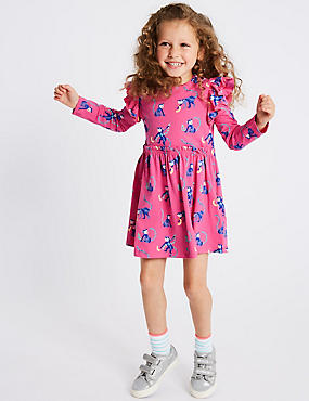 Cotton Dress with Stretch (3 Months - 7 Years), PINK MIX, catlanding