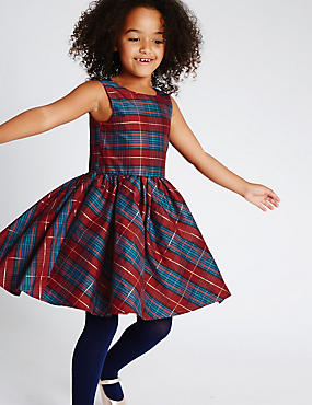 Sleeveless Checked Prom Dress (1-10 Years)