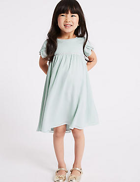 Chiffon Dress (1-7 Years), GREEN MIX, catlanding