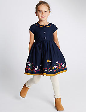Pure Cotton Peter Pan Collar Dress (18 Months - 7 Years)