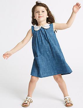 Pure Cotton Dress (3 Months - 7 Years), DENIM MIX, catlanding