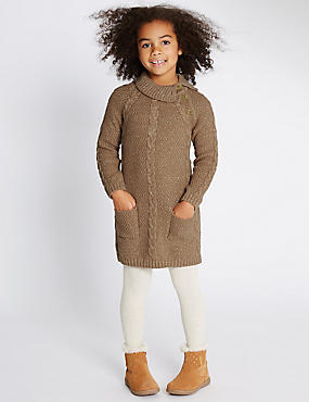 Cable Knit Cotton Blend Dress (1-7 Years)