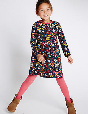 All Over Print Pure Cotton Long Sleeve Dress (1-7 Years)