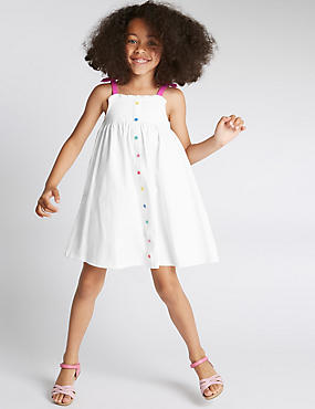 Pure Cotton Button Through Dress (1-7 Years)