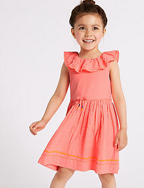 Pure Cotton Dress (3 Months - 7 Years), CORAL MIX, catlanding