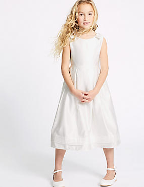 Longer Length Satin Bow Dress (1-16 Years)
