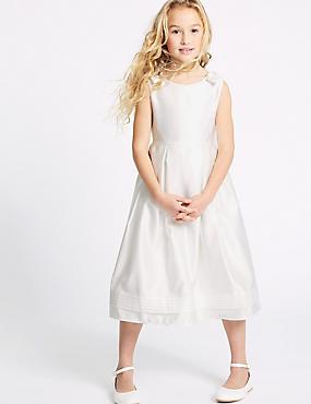 Longer Length Satin Bow Dress (1-16 Years), IVORY, catlanding