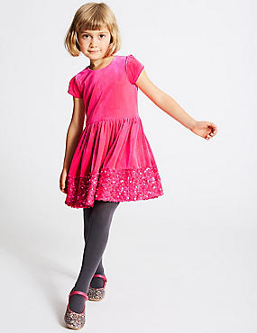 Velvet Sequin Hem Dress (1-10 Years)