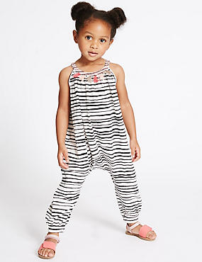 Pure Cotton Striped Jumpsuit (3 Months - 5 Years)