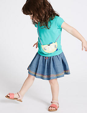 Denim Embroidery Hem Skirt (1- 5 Years)