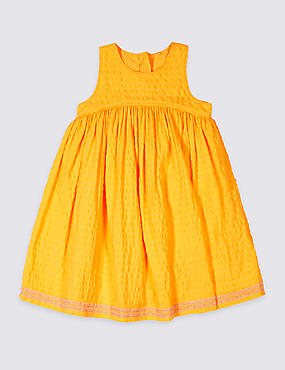 Pure Cotton Embroidered Hem Dress (3 Months - 5 Years)