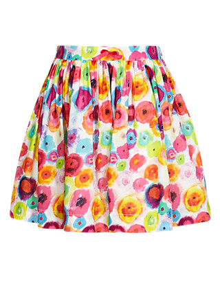 Adjustable Waist Multi-Floral Skirt Clothing