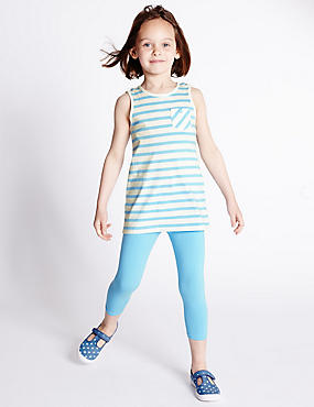 2 Piece Cotton Rich Striped Top & Leggings Outfit with StayNEW™ (1-7 Years)