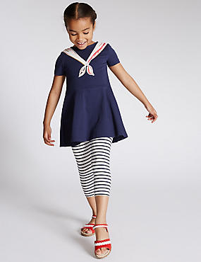2 Piece Cotton Rich Dress & Striped Leggings Outfit (1-7 Years)