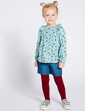 3 Piece Top & Shorts with Tights (3 Months - 7 Years), MULTI, catlanding