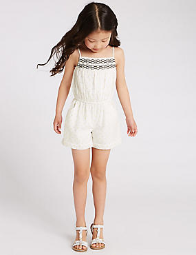 Cotton Rich Metallic Effect Playsuit (1-7 Years)