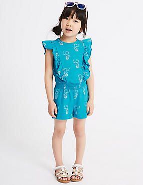 Pure Cotton Playsuit (3 Months - 7 Years), TURQUOISE, catlanding