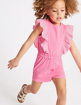 Pure Cotton Playsuit (3 Months - 7 Years), BRIGHT PINK, catlanding
