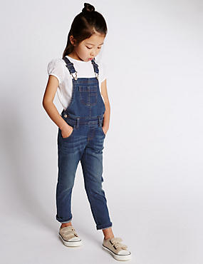 Cotton Rich Denim Dungarees (1-7 Years)