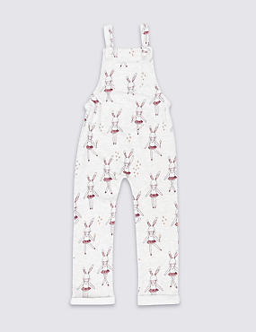 Cotton Rich Bunny Print Dungarees (3 Months - 6 Years)