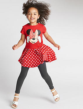2 Piece Cotton Rich Minnie Mouse Dress & Leggings Outfit (1-7 Years)
