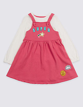 2 Piece Badge Dress & Pinafore Outfit (3 Months - 7 Years)