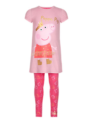 2 Piece Cotton Rich Peppa Pig™ Tunic & Leggings Girls Outfit with Stickers (1-7 Years) Clothing