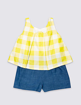 Pure Cotton Checked Playsuit (3 Months - 5 Years)