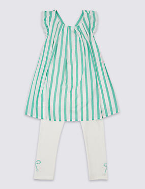 2 Piece Cotton Rich Striped Top & Leggings Outfit (3 Months - 5 Years)