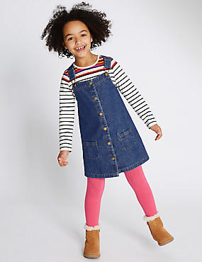 Pure Cotton Long Sleeve Pinny Dress (1-7 Years)