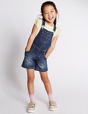 Cotton Rich Short Denim Dungaree (1-7 Years)