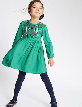 Embroidered Woven Dress with Tights (1-7 Years)