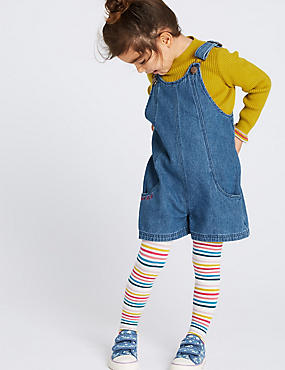 3 Piece Top & Dungaree with Tights (3 Months - 7 Years), DENIM MIX, catlanding