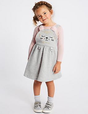 2 Piece Top & Pinny Outfit (3 Months - 7 Years), GREY MARL, catlanding