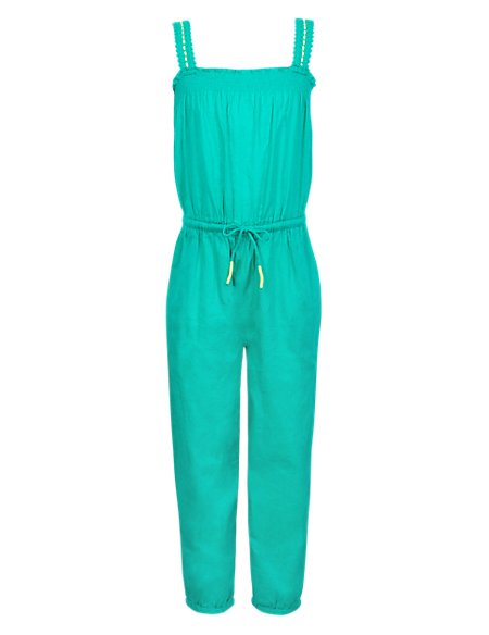 Pure Cotton Smocked Jumpsuit
