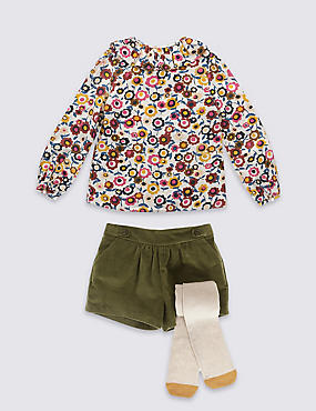 3 Piece Top & Shorts with Tights (1-7 Years)