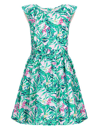 Pure Cotton Floral Belted Prom Girls Dress (1-7 Years) Clothing