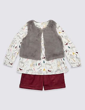 3 Piece Top & Gilet with Shorts (3 Months - 5 Years)