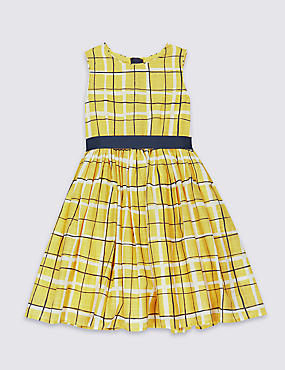 Pure Cotton Checked Dress with Belt (3 Months - 8 Years)